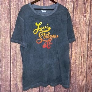 LEVIS stonewash gray spell out graphic tee 2XL